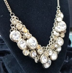 Casual or Dressy Gold & Crystal Necklace GUC